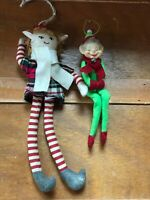 Lot of 2 Long Red & Green Plaid & Plain Fabric Elf Elfin Christmas Tree Ornament
