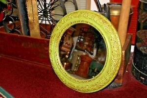 Vintage Shabby Chic Circular Wood Mirror Painted Green Flowers Floral Design