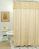 Daisy 3D & Embroidery Fabric Floral Shower Curtain TAUPE TAN Creative Linens
