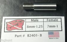 Adapter 8mm-1.25 Male by 7mm-1 Female, Speargun, Tip, Pole Spear Stainless