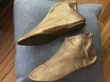 Vintage Oomphies Gold Fabric House Slippers 71/2-8 1960-1970s