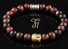 Oeil de Tigre Rouge Bracelet Perles Tête Bouddha or 8mm