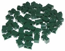 Lego Lot of 50 New Dark Green Bricks Modified 1 x 2 with Groove
