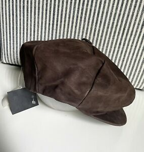 Vintage NOS Henschel Suede Nubuck Leather Newsboy Cabbie Hat Cap Mens XL W/ Tags