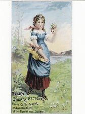 "*Postcard-AD-""Young Lady in Field"" -Ayer's Cherry Pectorral- (For Coughs) (B354)"