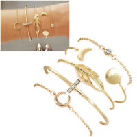Fashion Women's Gold Moon Leaf Disc Crystal Charm Bracelet Set Cuff Bangle Chain