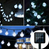 31ft 50 LED Solar String Ball Lights Waterproof White Garden Party Decor