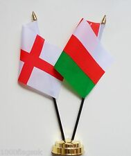 England & Oman Double Friendship Table Flag Set