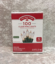 Holiday Time 100 Clear White Mini Lights Green Wire Christmas