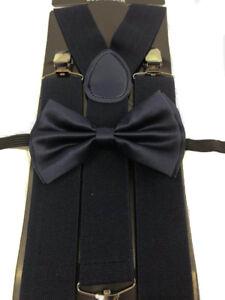 "Navy Blue Color Wedding Party Accessories Bow Tie & 1.5"" in width Wide Suspender"
