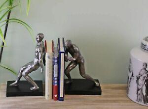 Bookends Pair of Male Statue Holder Bookcase Shelf Decor Ornament Gift Silver
