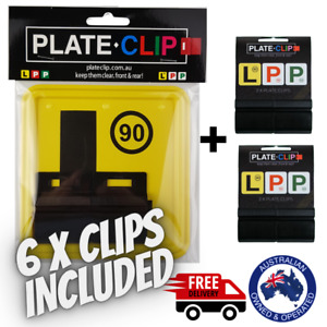 6 x Black Plate Clips + 2 x L Plates | FREE Postage | NSW Only