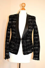 LADIES DESIGNER ZARA FAUX LEATHER COLLAR BLACK,WHITE WOOL TEXTURED JACKET COAT10