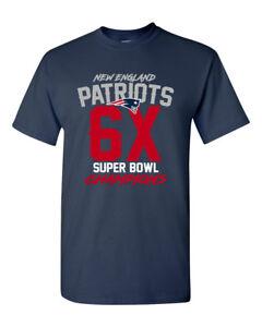 Super Bowl LIII 53 Champions New England Patriots Custom T Shirt  6X 6-Time New
