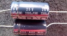3300uF 25V Axial Lead Electrolytic Capacitor-MFR: NIC  (Lot of 4 Pieces) NEW
