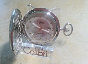 COLIBRI  SILVER PLATED  W/ DATE  POCKET WATCH  GOLD MARKERS NEW MSRP$199