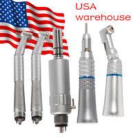 Dental High Speed Turbine & Contra Angle Straight Handpiece Air Motor 4Holes Kit