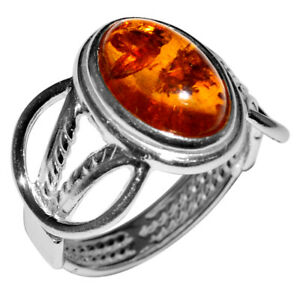 4.1g Authentic Baltic Amber 925 Sterling Silver Ring Jewelry N-A7196 s.8