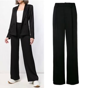 VINCE Trousers Black Wide Leg High Rise Long Pants Size 0