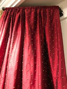 "SILK LINED CURTAIN DRAPERY NIP Dupioni FRENCH KNOT Embroidery Red Gold 84""length"