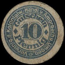 WERTMARKE: 10 Pfennig, Karton-Gutschein. KOLONIALWAREN-HÄNDLER AMORBACH / BAYERN