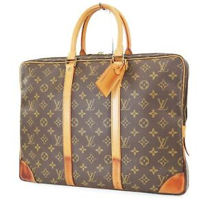 Authentic LOUIS VUITTON Porte-Documents Voyage Monogram Briefcase Bag #37837