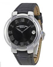 NEW RAYMOND WEIL Jasmine Ladies Watch Dark Grey Dial Black Leather 5235-STC01608