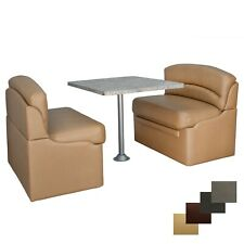 """RecPro 38"""" Toffee Dinette Booth Set With Luna Imperial Dining Table RV Seating"""