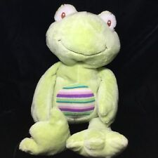 """Animal Adventure Sweet Sprouts Green Frog Plush Knit Striped 20"""" Soft Toy 2015"""