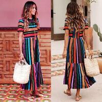 Womens Loose Multi-Colour Striped Maxi Shirt Ladies Short Sleeve Long Sun Dress