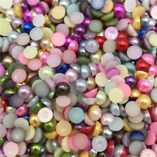 4-10mm Imitation Pearl Half Round Pearl Bead Flat Back Scrapbook Women Nail Art