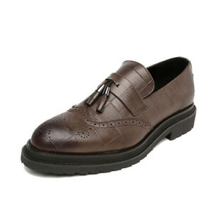 Men Tassels Business Fashion Flat Shoes Pointed Toe Wingtip Carved Oxford Brogue
