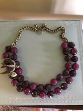 Fossil Bird Faceted Burgundy Beads Antique Gold Bronze Statement Necklace RARE!