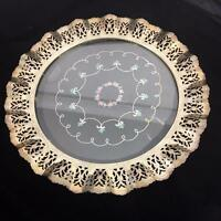 Antique Silver Plate Vanity Tray Needlework Cased Glass Chain Net Embroidery