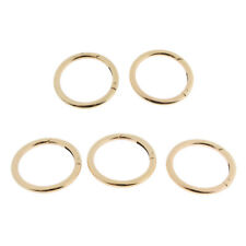 5 ROUND CARABINERs Clips OUTDOOR Spring SNAP HOOK Buckles Keychain Gold 51mm