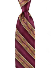 "Mens BRIONI Hand Made Red Gold Bar-Stripe Silk 3.25"" Neck Tie MSRP $230"