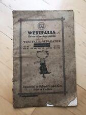Gebrauchs-Anweisung für Westfalia Separator, Bedienungsanleitung Alt