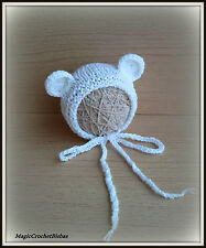 Recién nacidos bebé niño niña Fluffy Bear Bonnet Sombrero de ganchillo hecho a mano Foto Accesorios