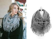 GREY FRINGE INFINITY Scarf Circle Crochet Knit Long Warm Eternity BOHO New