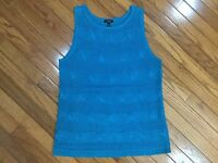 Talbots Teal Linen Cable Knit Tank Sleeveless Top Blouse Size M