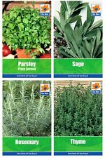 4 PACKS of HERB Garden SEEDS - PARSLEY, SAGE, ROSEMARY and THYME