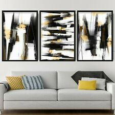 More details for 3 abstract black & yellow art prints from original textured painting mix size v2