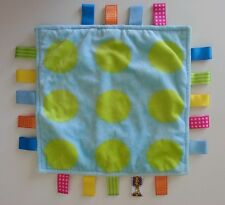 Taggies Blue Green Circles Polka Dots Plush Security Blanket Baby Lovey