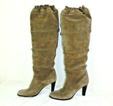 Coach Jae Boots Womens Size 8.5 Italy Brown Suede Leather Knee High Slouchy $598