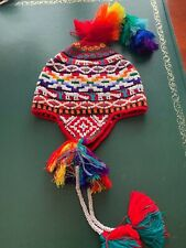 PERUVIAN CHULLO HAT WITH BEADS MULTICOLOURED RAVE FESTIVAL  HAND MADE  07
