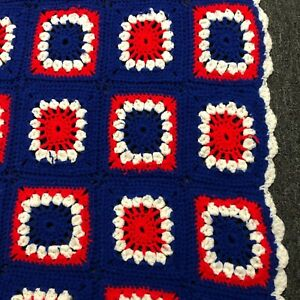 Chicago Cubs Inspired Red White Blue Afghan 66×38  Handmade Throw Blanket