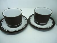Hornsea Pottery Contrast Tea Cups & Saucers x 2Brown Vintage Retro 1970s British
