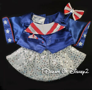Build-A-Bear PATRIOTIC GIRL Outfit UNCLE SAM TOP, SEQUIN SKIRT Teddy Clothes