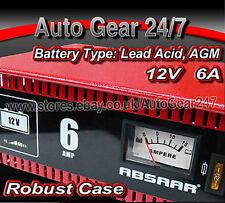 Absaar 12V 6A Amp Strong Metal Case Car,Motor Bike Lead Acid AGM Battery Charger