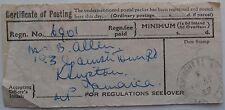 VINTAGE CERTIFICATE OF POSTING 1959 LIVERPOOL TO JAMAICA